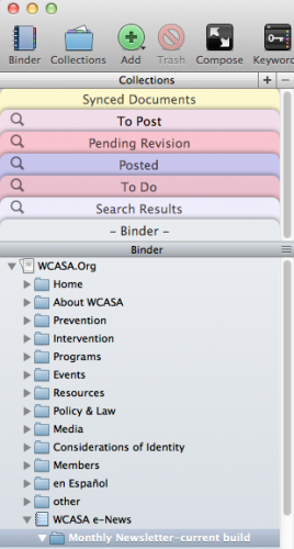 screenshot - the binder window with collections