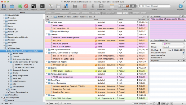 screenshot - Scrivener in outline mode